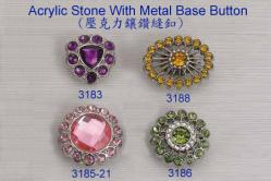 Acrylic Stones With Metal Base Button